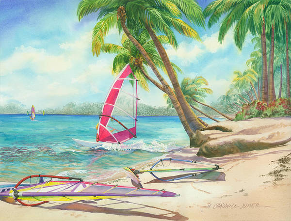 Tropic Painting - Windsurfing The Tropics by Marguerite Chadwick-Juner