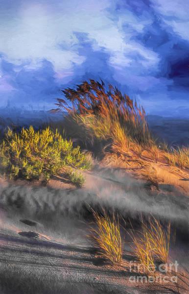 Sea Oats Painting - Windswept by Dan Carmichael