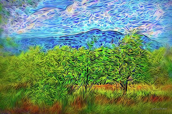 Digital Art - Windswept Mountain Trees by Joel Bruce Wallach