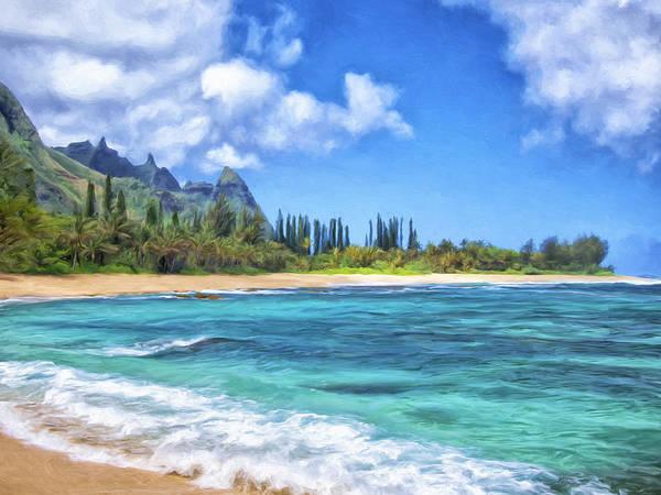 Painting - Windy Day At Ha'ena Beach Kauai by Dominic Piperata