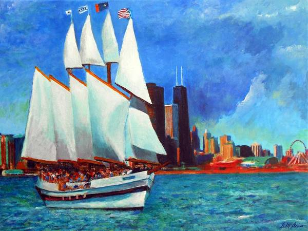 Impressionistic Sailboats Painting - Windy In Chicago by Michael Durst