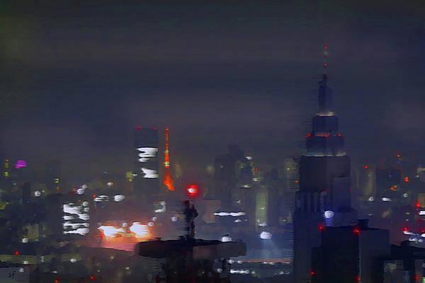Digital Art - Windy Night Lights Abstract by Shelli Fitzpatrick