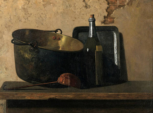 Preparation Painting - Wine And Brass Stewing Kettle. Preparation Of French Potage by John Frederick Peto