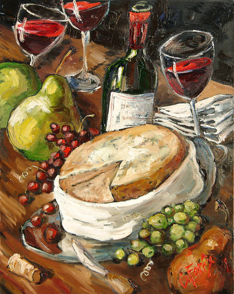 Vino Painting - Wine And Cheese by Carole Foret