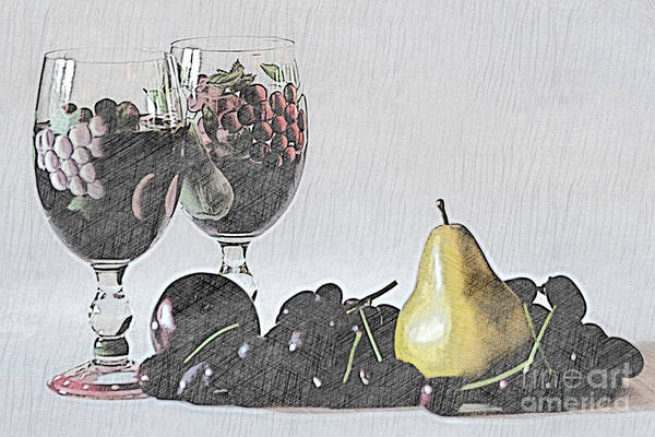 Eating Mixed Media - Wine And Fruit by Sherry Hallemeier