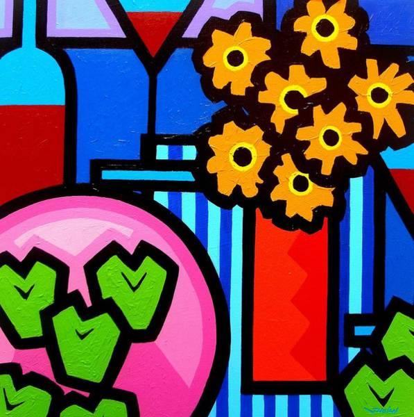 Wall Art - Painting - Wine Apples Flowers by John  Nolan