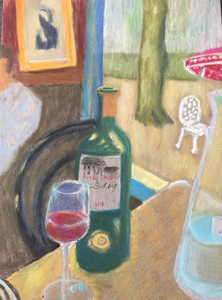 Pastel - Wine At Justine's by Cherylene Henderson