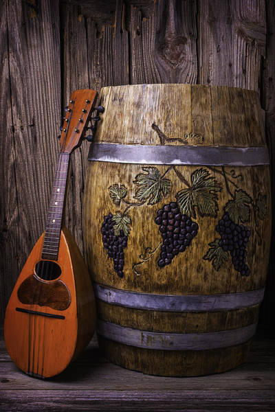 Wine Tasting Photograph - Wine Barrel With Mandolin by Garry Gay