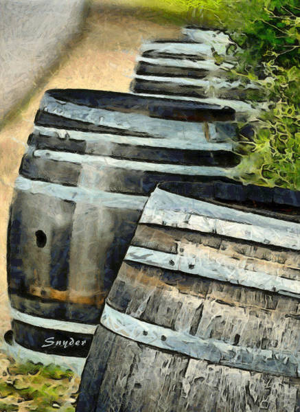 Photograph - Wine Barrels Foxen Winery Abstract by Barbara Snyder