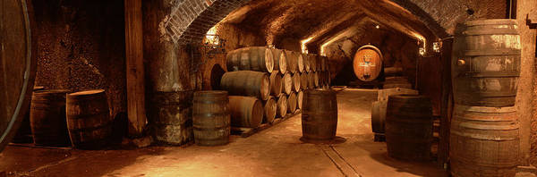 Wall Art - Photograph - Wine Barrels In A Cellar, Buena Vista by Panoramic Images