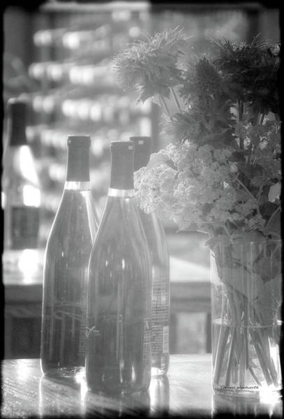 Shelves Mixed Media - Wine Bottles Bw Vertical by Thomas Woolworth
