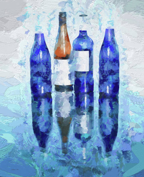 Digital Art - Wine Bottles Reflection  by OLena Art - Lena Owens
