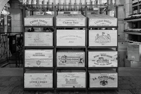 Photograph - Wine Boxes In A Bordeaux Winery  In Mono by Georgia Fowler