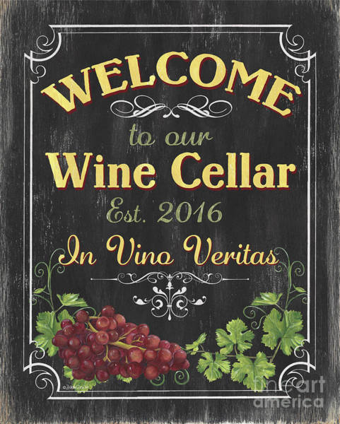 Wall Art - Painting - Wine Cellar Sign 1 by Debbie DeWitt