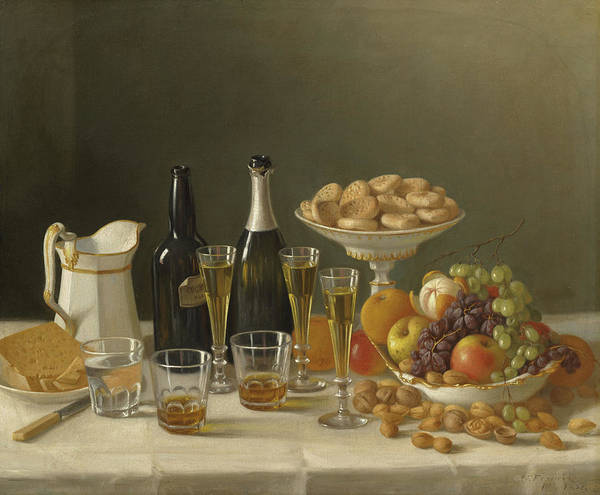 Bread And Wine Painting - Wine, Cheese, And Fruit by John F Francis