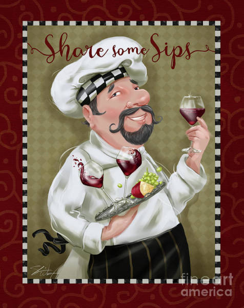 Fat Mixed Media - Wine Chef-share Some Sips by Shari Warren