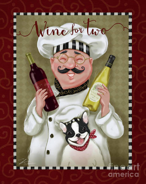 Fat Mixed Media - Wine Chef-wine For Two by Shari Warren