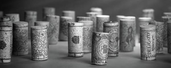 Wine Cork Panorama In Black And White Art Print