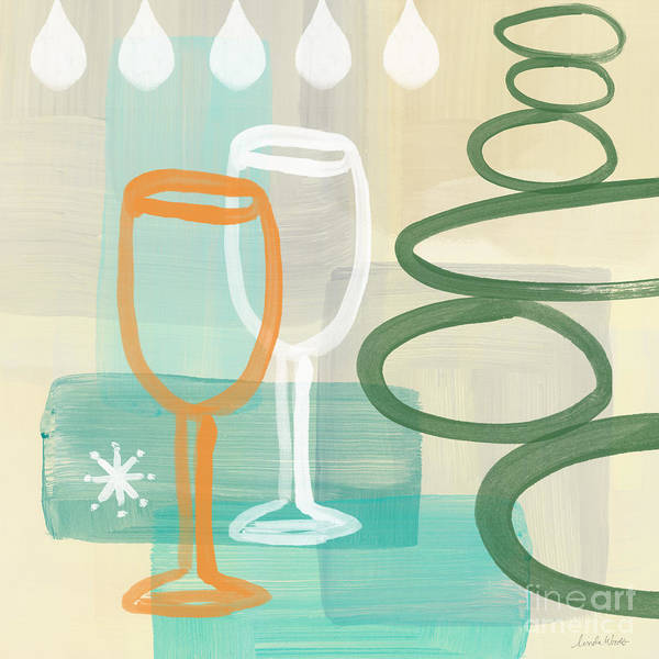 Circle Painting - Wine For Two by Linda Woods