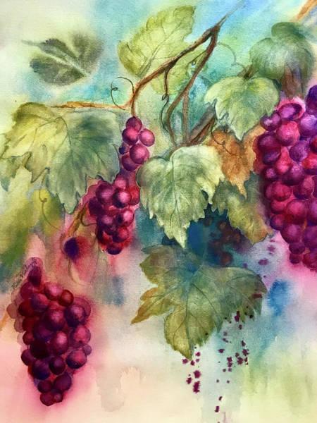 Painting - Wine Grapes by Hilda Vandergriff