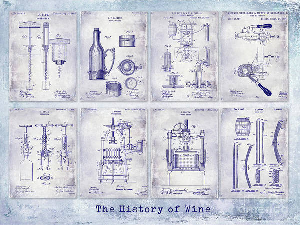 Wall Art - Photograph - Wine History Patent Blueprint by Jon Neidert