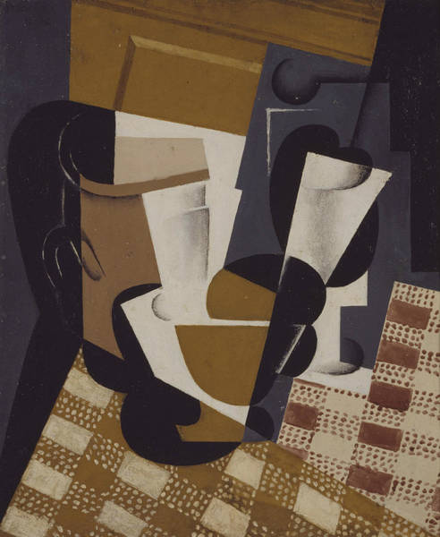 Spanish Wine Painting - Wine Jug And Glass by Juan Gris