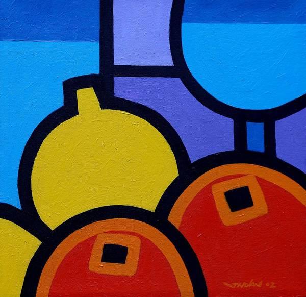 Wall Art - Painting - Wine Lemons Oranges by John  Nolan