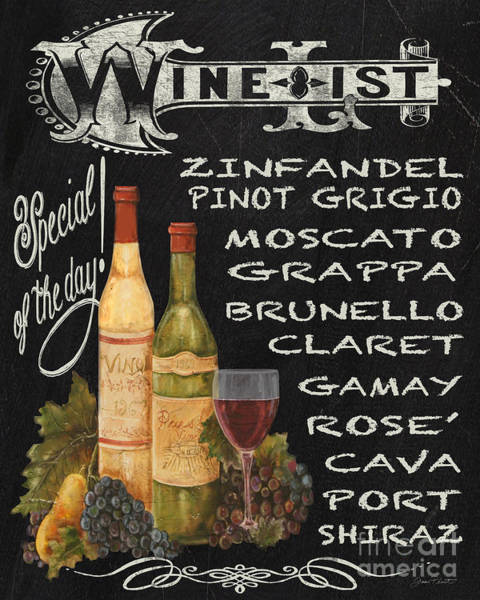 Wall Art - Painting - Wine List-jp3585 by Jean Plout