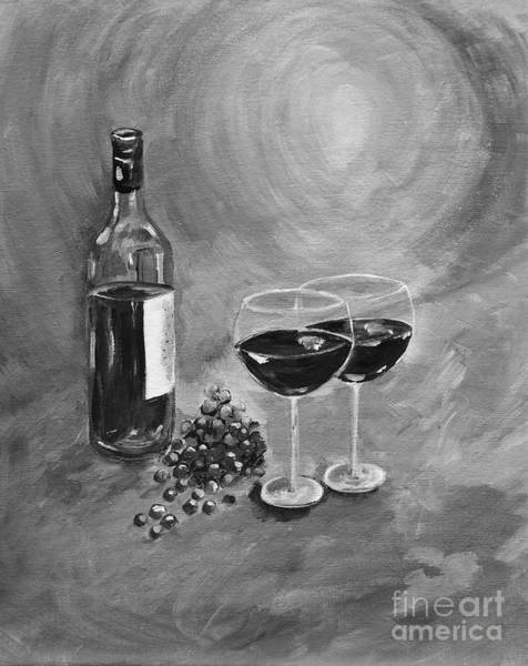 Vino Painting - Wine On My Canvas - Black And White - Wine For Two by Jan Dappen