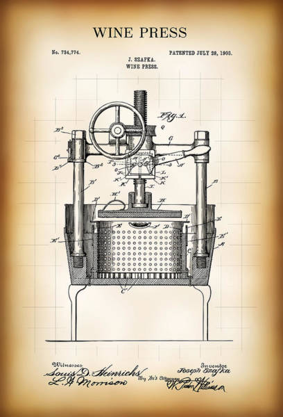 Cellar Digital Art - Wine Press Patent  1903 by Daniel Hagerman