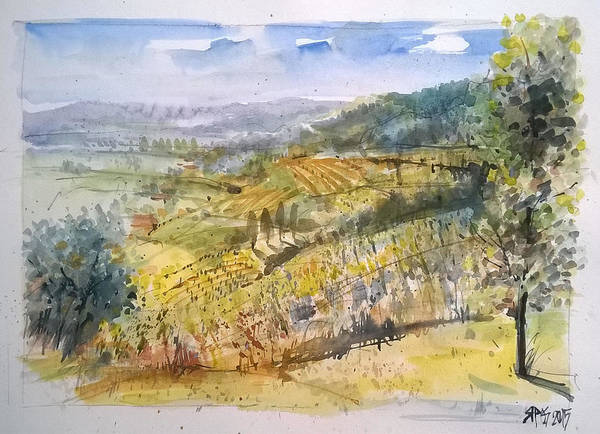 Painting - Wine Region Landscape by Lorand Sipos
