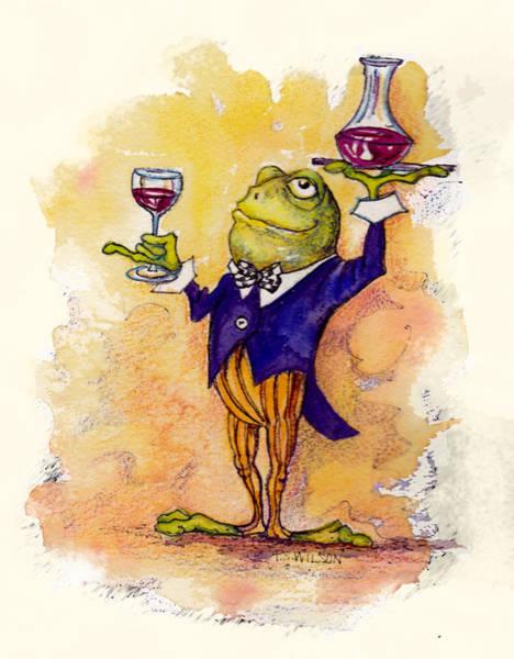 Frog Wall Art - Mixed Media - Wine Steward Toady by Peggy Wilson