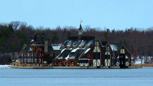 Snow On Boldt Castle Yacht House Art Print