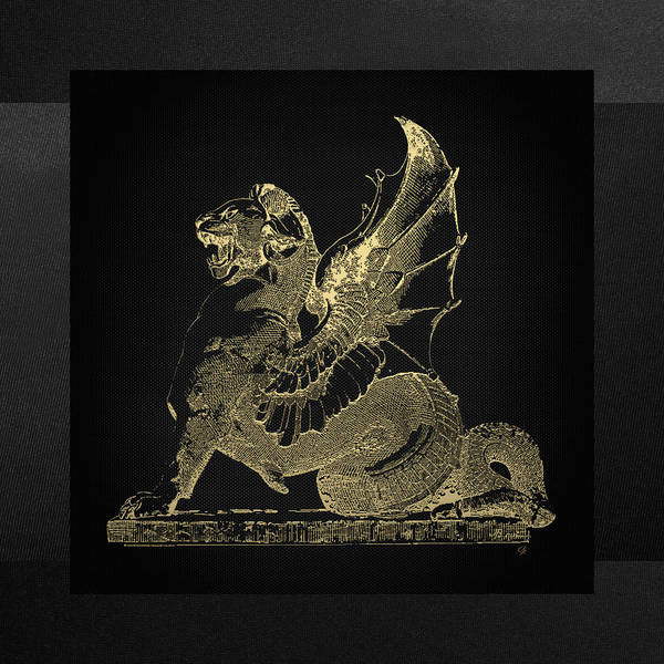 Digital Art - Winged Dragon Chimera From Fontaine Saint-michel, Paris In Gold On Black by Serge Averbukh