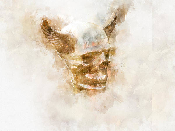 Photograph - Winged Skull Watercolor by Michael Colgate