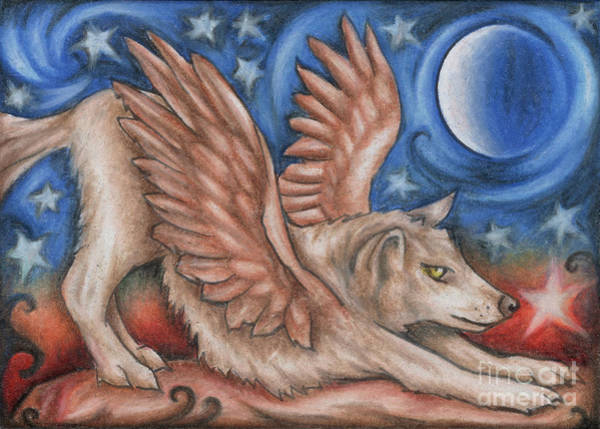 Drawing - Winged Wolf In Downward Dog Yoga Pose by Kristin Aquariann