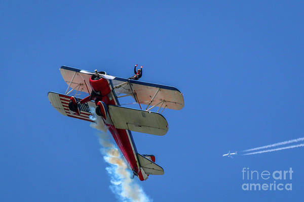 Photograph - Wingwalker And Airliner by Tom Claud