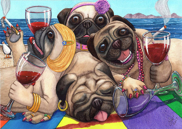 Painting - Wining Pile Of Pugs by Catherine G McElroy