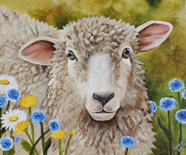 Romney Painting - Winnie In The Wild Flowers by Laura Carey