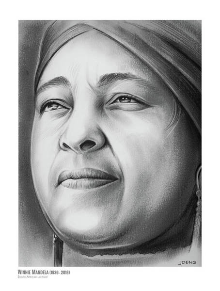 Wall Art - Drawing - Winnie Mandela by Greg Joens