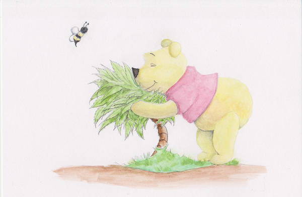 Mixed Media - Winnie The Pooh In A Bush by Steven Powers SMP