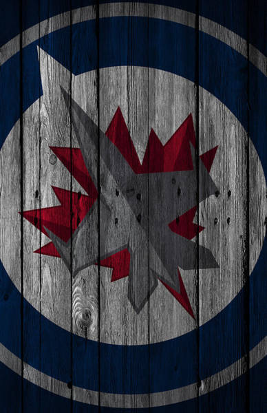 Mask Digital Art - Winnipeg Jets Wood Fence by Joe Hamilton