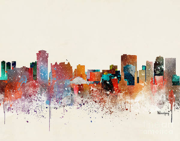 Wall Art - Painting - Winnipeg Skyline  by Bri Buckley