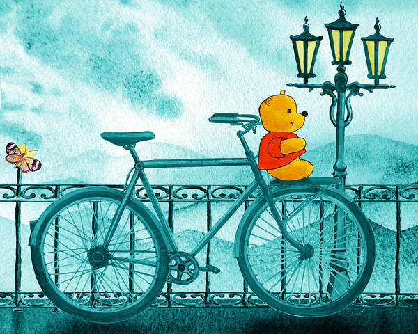 Painting - Winny The Pooh On The Bicycle by Irina Sztukowski