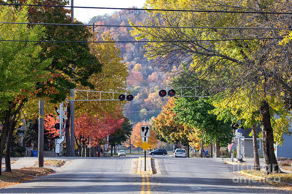 Photograph - Winona Mn Photo Railroad Crossing In Fall by Kari Yearous
