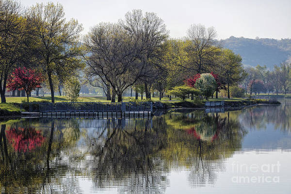 Photograph - Winona Mn Spring Trees And Pier by Kari Yearous