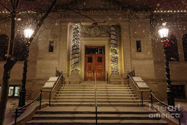 Photograph - Winona Public Library On A Snowy Night by Kari Yearous