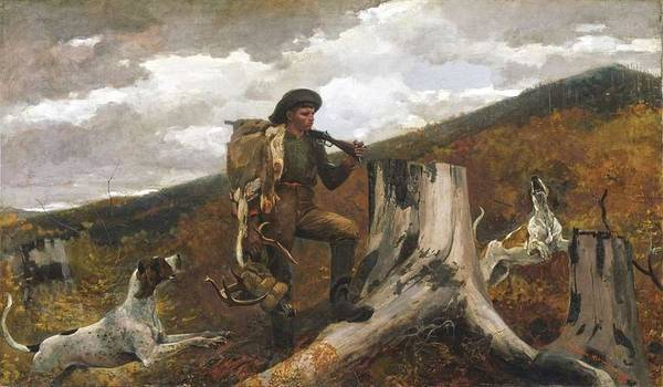 Painting - Winslow Homer  1836  1910   A Huntsman And Dogs  1891 by Artistic Panda