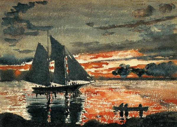 Painting - Winslow Homer  1836   1910  Sunset Fires  1880 by Artistic Panda