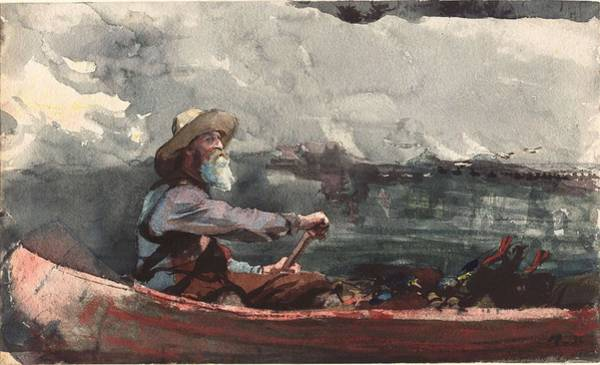 Painting - Winslow Homer - Adirondacks Guide by Artistic Panda